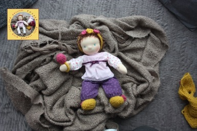 Milunia natural fiber doll in sweet clothes by Tulale